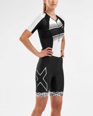 2XU Compression korte mouw trisuit zwart/wit dames