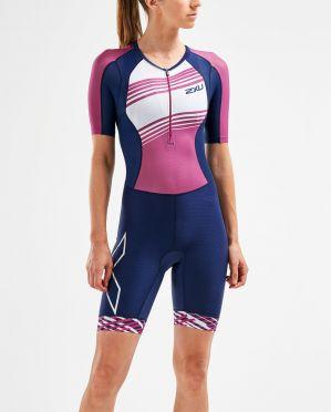 2XU Compression korte mouw trisuit blauw/roze dames