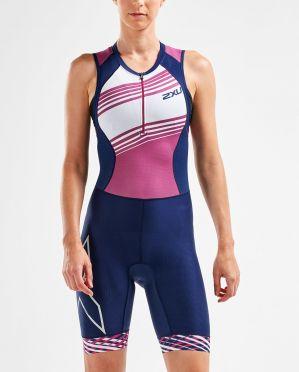 2XU Compression mouwloos trisuit blauw/roze dames