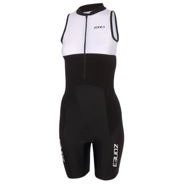 Zone3 Lava long distance mouwloos trisuit zwart/wit dames