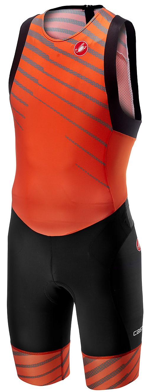 Castelli Free tri ITU suit rits achterzijde mouwloos oranje heren  18110-034