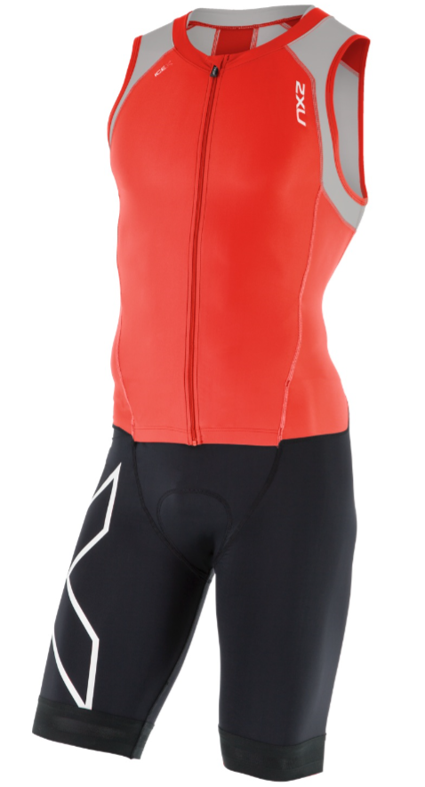 2XU Compression trisuit full zip zwart/rood/grijs heren  MT4443dFSC/FRG