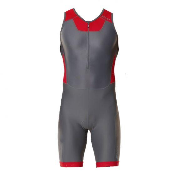 2XU Trisuit X-vent front zip grijs/rood heren  MT4354dCHR/TRD