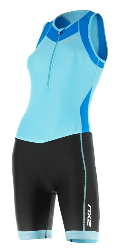 2XU Trisuit X-vent Front Zip lichtblauw/zwart dames  WT4365dBLA/BLK