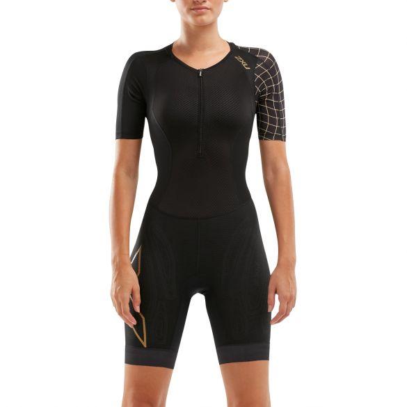 2XU Compression korte mouw trisuit zwart/goud dames  WT5521D-BLK/GLD
