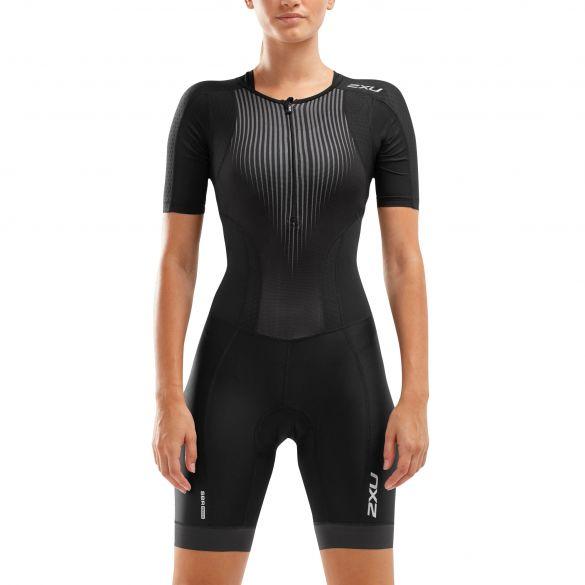 2XU Perform korte mouw trisuit zwart dames  WT6060D-BLK/SDW