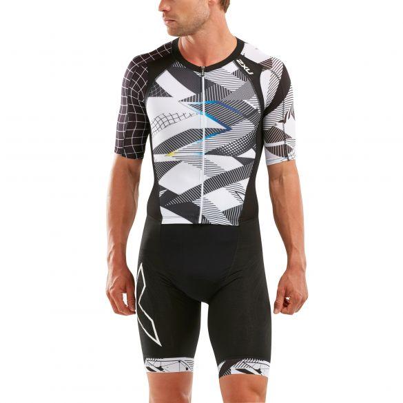 2XU Compression korte mouw trisuit zwart/wit heren  MT5516D-BLK/CRO