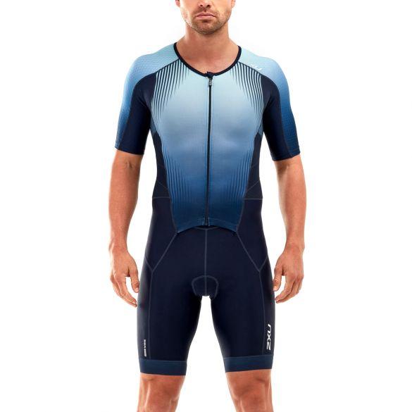 2XU Perform korte mouw trisuit blauw heren  MT5525D-MDN/FMB