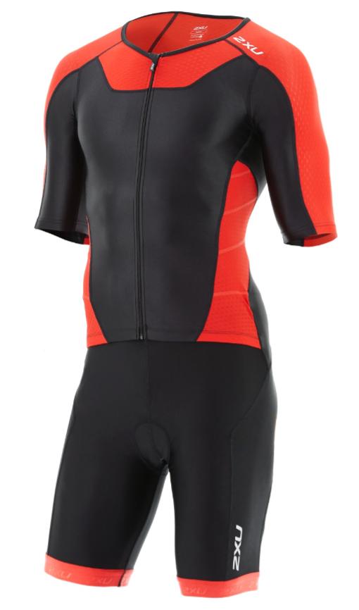 2XU X-vent Sleeved Full Front Zip Trisuit zwart/rood heren  MT4355dBLK/TRD
