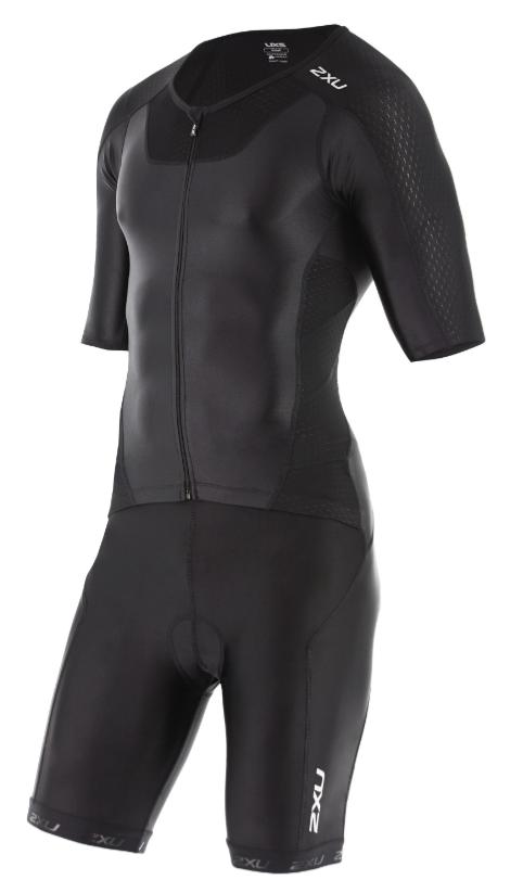 2XU X-vent sleeved full front zip trisuit zwart heren  MT4355dBLK/BLK