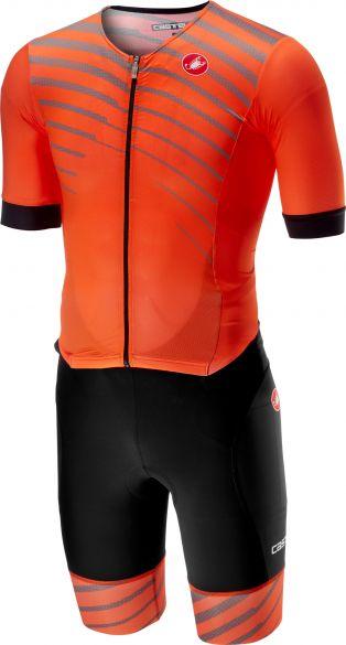 Castelli Free sanremo trisuit korte mouwen zwart/oranje heren  18109-034