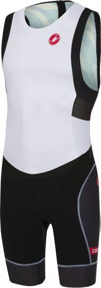 Castelli Short distance race trisuit rits achterzijde mouwloos wit/zwart heren  18111-101