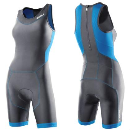 2XU Perform tri suit rear zip dames WT2706d Charcoal/Ultramarine blue  2XUWT2706DCHBL