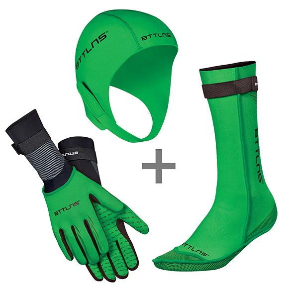 BTTLNS Neopreen accessoires voordeelset groen  0120010+0120011+0120012-040