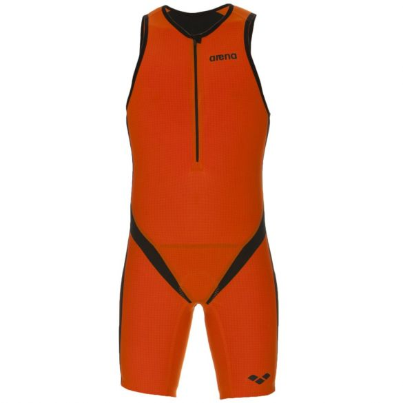 Arena Carbon pro front zip mouwloos trisuit oranje heren  AR1A936-35