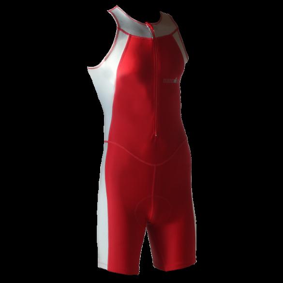 Ironman trisuit front zip mouwloos Skin suit rood/zilver heren  IM1502-05/10