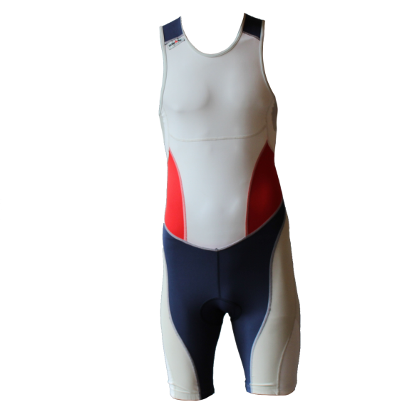 Ironman trisuit back zip mouwloos extreme suit wit/blauw/rood heren  IM7500-03/05/41