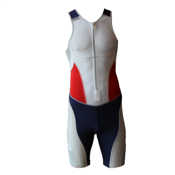 Ironman trisuit front zip mouwloos extreme suit wit/blauw/rood heren  IM7507-03/41