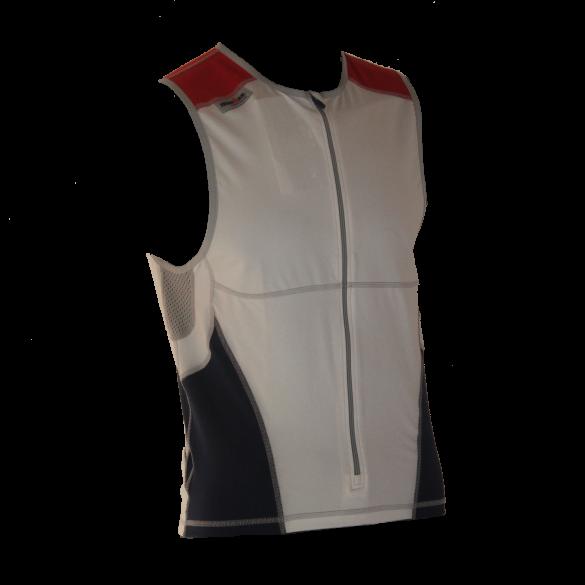 Ironman tri top front zip mouwloos bodysuit wit/blauw/rood heren  IM8504-03/41