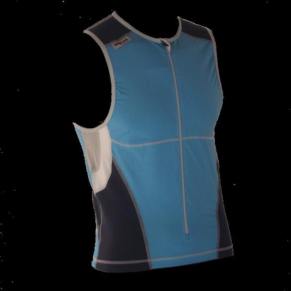 Ironman tri top front zip mouwloos bodysuit blauw heren  IM8504-50/41
