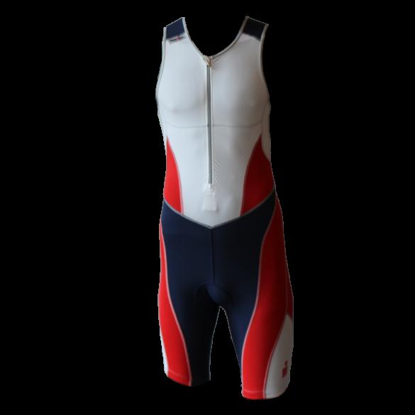 Ironman trisuit front zip mouwloos bodysuit wit/blauw/rood heren  IM8507-03/41