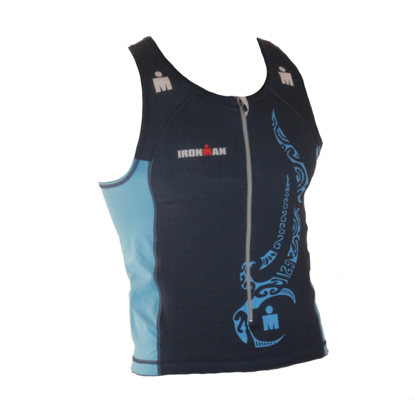 Ironman tri top front zip mouwloos multisport tattoo blauw heren  IM8925-41/50