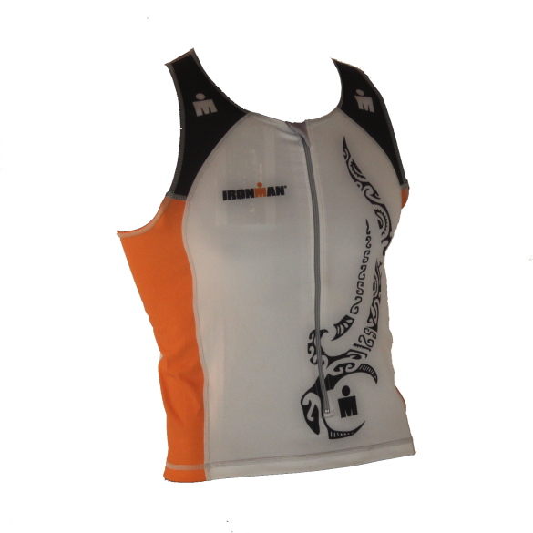 Ironman tri top front zip mouwloos multisport tattoo wit/oranje heren  IM8925-03/13
