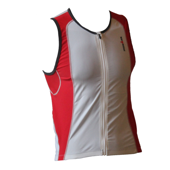 Ironman tri top front zip mouwloos 2P wit/rood heren  IMT0203-03/05