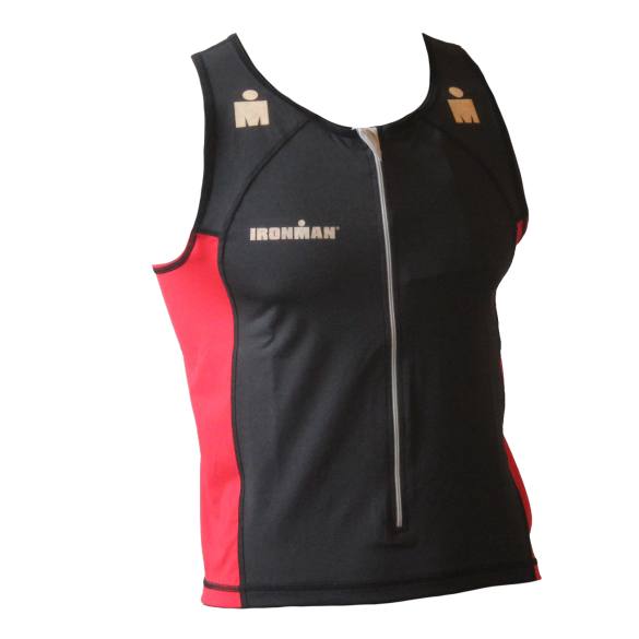 Ironman tri top front zip mouwloos T-zip zwart/rood heren  IMT525-15/05