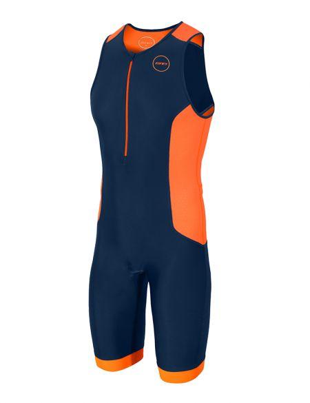 Zone3 Aquaflo plus mouwloos trisuit blauw/oranje heren  TS18MAQP113