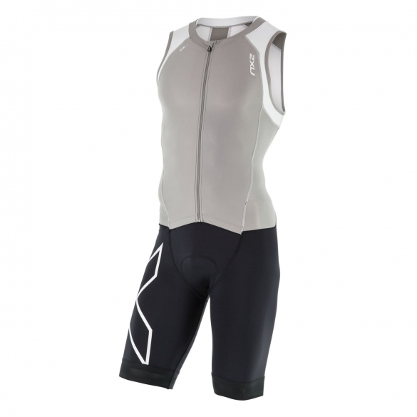 2XU Compression trisuit full zip zwart/grijs/wit heren  MT4443dFRG/WHT