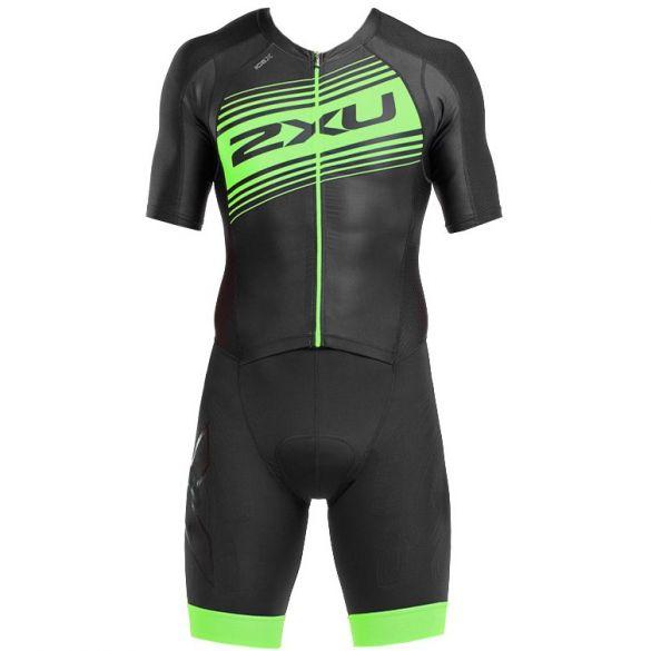 2XU Compression korte mouw trisuit zwart/groen heren  MT4838d-BLK/GLG