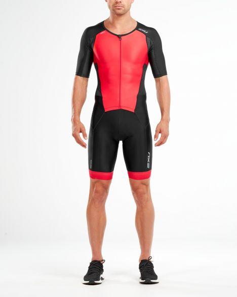 2XU Perform korte mouw trisuit zwart/rood heren  MT4847d-BLK/TRD