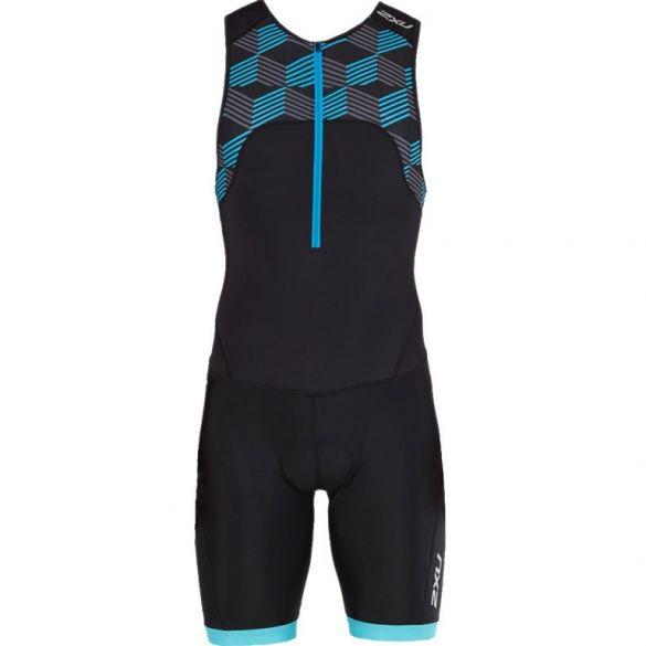 2XU Active mouwloos trisuit zwart/blauw heren  MT4862d-BLK/RDB-VRR