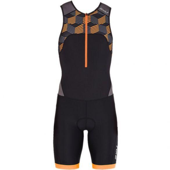 2XU Active mouwloos trisuit zwart/oranje heren  MT4862d-BLK/RFO
