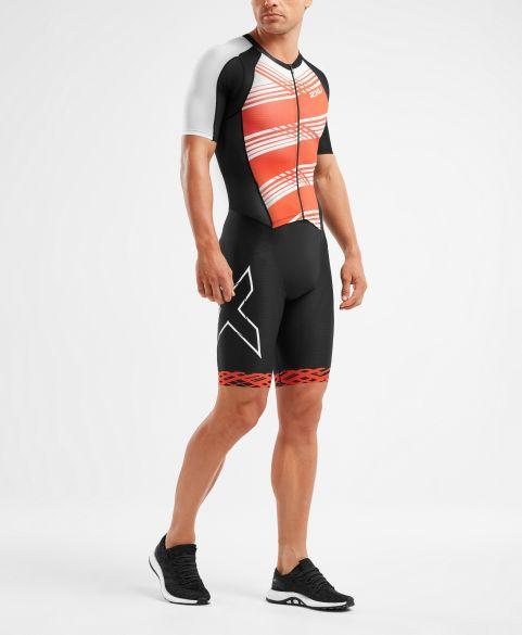 2XU Compression korte mouw trisuit zwart/rood heren  MT5516D-BLK/WFL