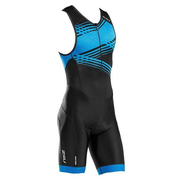 2XU Perform mouwloos trisuit zwart/blauw heren  MT5526D-BLK/DRB