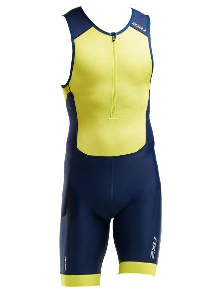 2XU Perform mouwloos trisuit blauw/geel heren  MT5526d-NVY/LMA