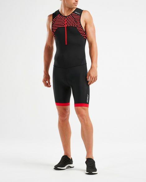 2XU Active mouwloos trisuit zwart/rood heren  MT5540d-BLK/FSL