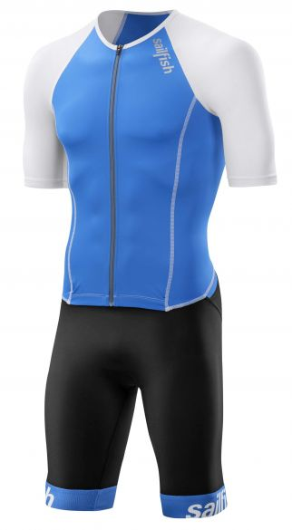 Sailfish Aerosuit comp trisuit korte mouw blauw/wit heren  SL3100