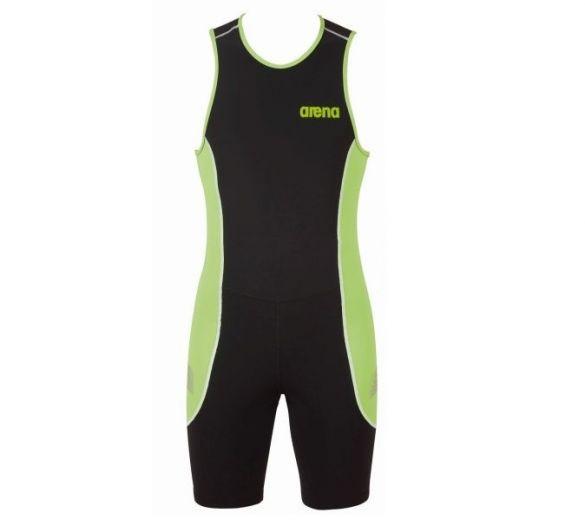 Arena ST rear zip mouwloos trisuit zwart/groen heren  AR1A919-55
