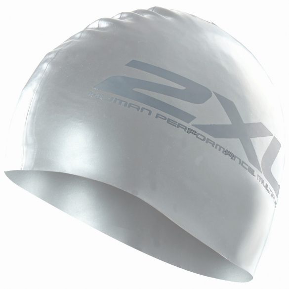 2XU Siliconen swim cap zilver  US1355F
