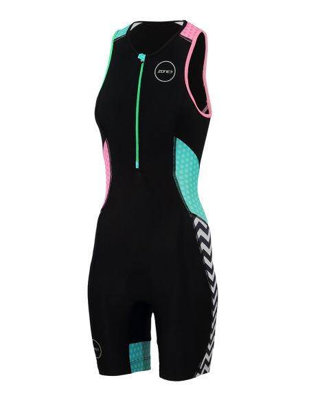 Zone3 Activate plus mouwloos trisuit Zebra fly dames  TS18WACP101