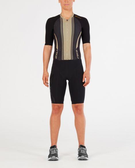 2XU Project X korte mouw trisuit zwart/goud dames  WT4836d-BLK/GTG