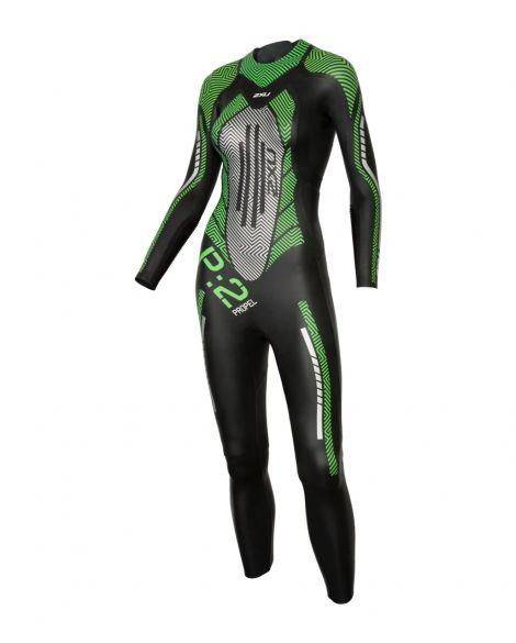 2XU P:2 Propel lange mouw wetsuit zwart/groen dames  WW4993c-BLK/MTG