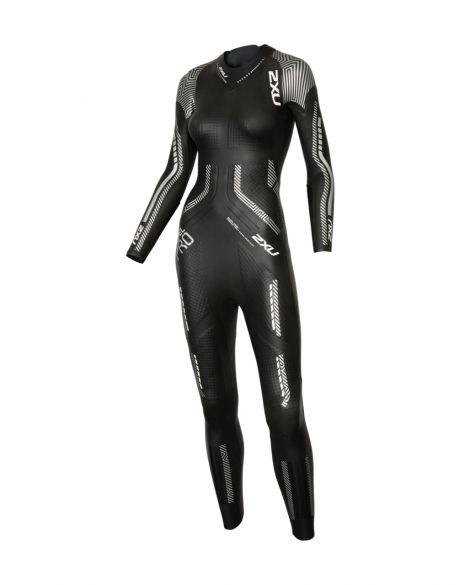 2XU Propel pro lange mouw wetsuit zwart/zilver dames  WW5125c-BLK/SIL