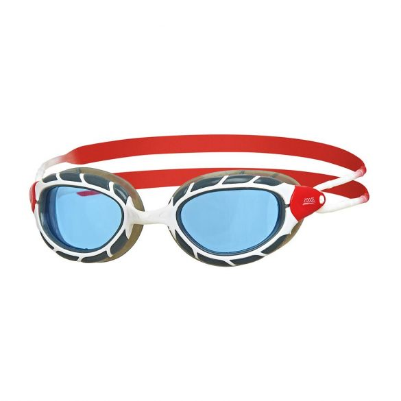 Zoggs Predator blauwe lens zwembril wit/rood  336863